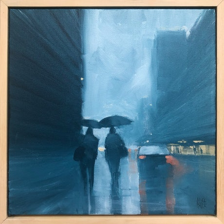 (CreativeWork) Two in the rain by Mike Barr. Acrylic Paint. Shop online at Bluethumb.