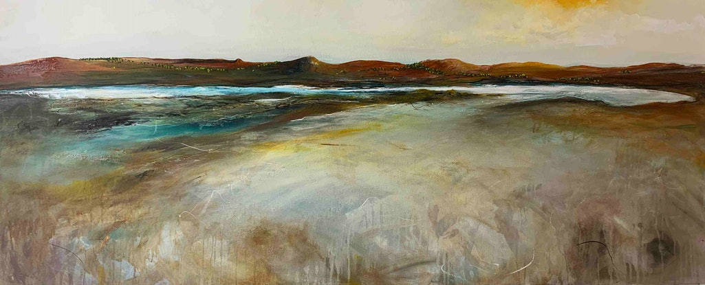 (CreativeWork) The Inlet At Dawn 150X60cm  Large Abstract Landscape by Tania Chanter. Acrylic. Shop online at Bluethumb.