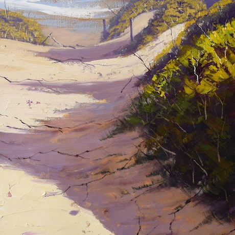 (CreativeWork) Dunes to the beach by Graham Gercken. Oil Paint. Shop online at Bluethumb.