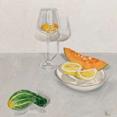 (CreativeWork) Cocktails With Cantaloupe & Cucumber by Dominika Keller. Acrylic. Shop online at Bluethumb.