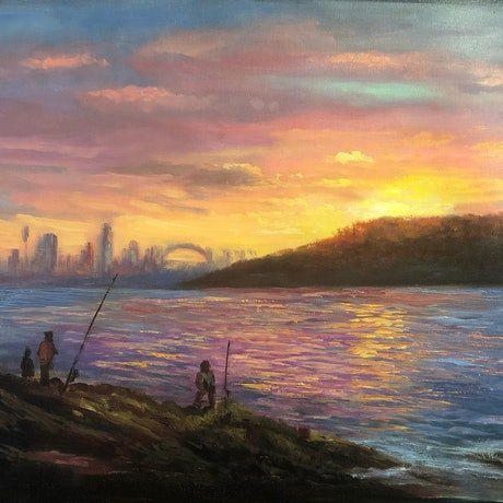(CreativeWork) Fishing at sunset around Sydney Harbour - oil on loose polyester by Christopher Vidal. Oil. Shop online at Bluethumb.