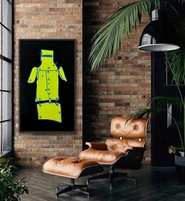 (CreativeWork) Ned Kelly Fluro Yellow  & Black   by Shane Bowden. Mixed Media. Shop online at Bluethumb.