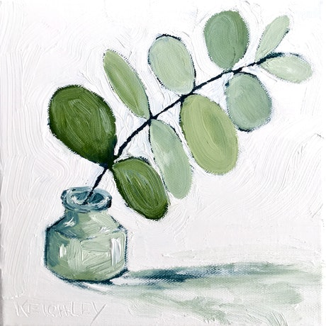 (CreativeWork) Soft Green Euc No.1 - RESERVED Elaine by Michelle Keighley. Oil Paint. Shop online at Bluethumb.