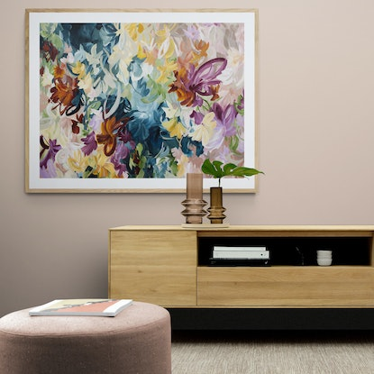 Bohemian style abstract flowers in a rustic pastel colour palette