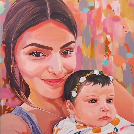 (CreativeWork) Portrait - For Diana #2 by Tulika Das. Acrylic Paint. Shop online at Bluethumb.