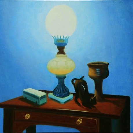 (CreativeWork) Oddments by Geoff Harrison. Oil. Shop online at Bluethumb.