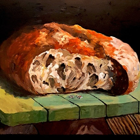 (CreativeWork) Earning a Crust by Rob Sinclair. Oil Paint. Shop online at Bluethumb.