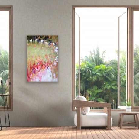 Stretched canvas when viewed on the wall gives a total image with all four sides painted with the continuation of the scene.