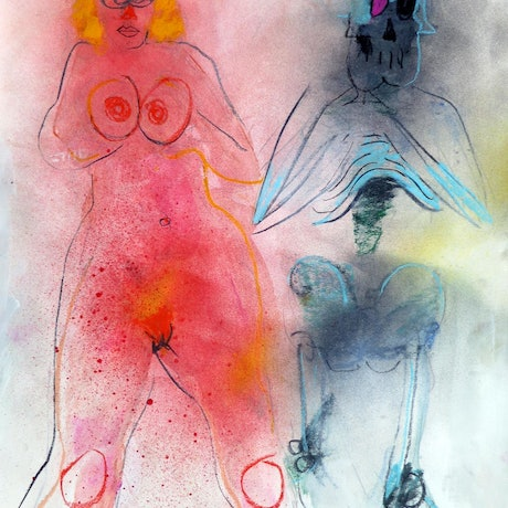 (CreativeWork) Death and the Maiden  by John Graham. Mixed Media. Shop online at Bluethumb.