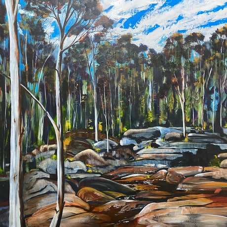(CreativeWork) Woolshed Falls - Beechworth   by Julie Dynan. Acrylic Paint. Shop online at Bluethumb.