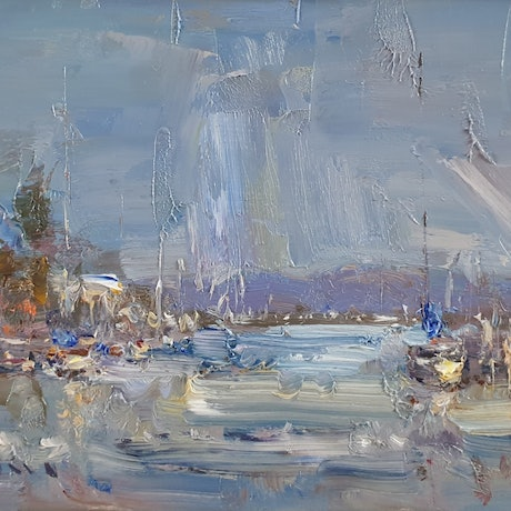 (CreativeWork) Seascape at Kingfisher Canal  by Minhan Cho. Oil Paint. Shop online at Bluethumb.