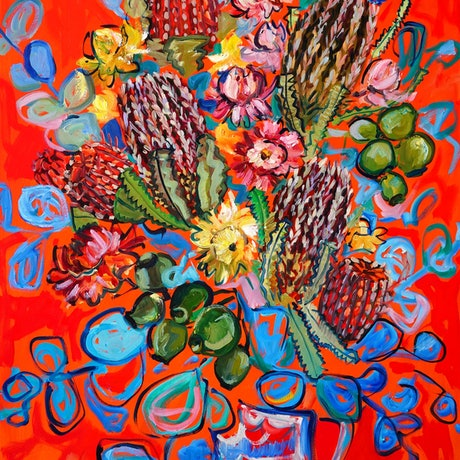 (CreativeWork) Still Life with Native Flowers by Katerina Apale. Oil Paint. Shop online at Bluethumb.