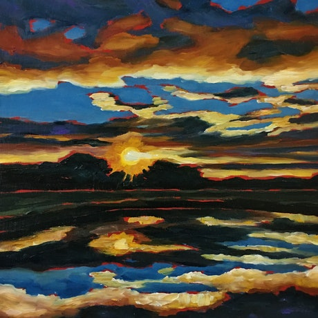 (CreativeWork) Winter sunset  by april white. Oil Paint. Shop online at Bluethumb.