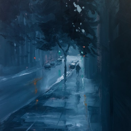 (CreativeWork) Flinders Lane in rain - rainy cityscape by Mike Barr. Acrylic Paint. Shop online at Bluethumb.