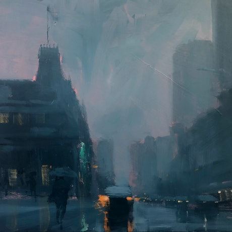 (CreativeWork) Storm at the Stag - rainy cityscape by Mike Barr. Acrylic Paint. Shop online at Bluethumb.