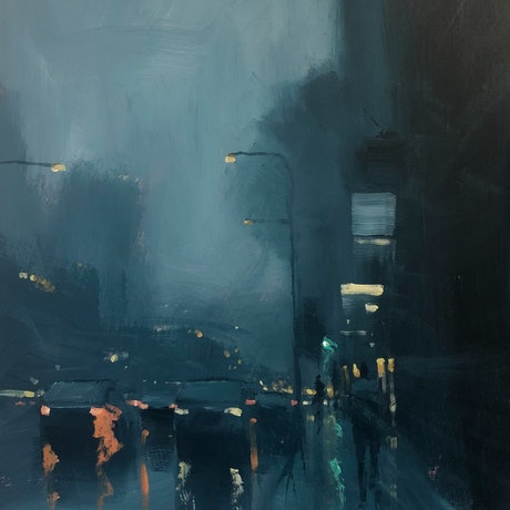 (CreativeWork) Reflections on Waymouth - rainy cityscape by Mike Barr. Acrylic Paint. Shop online at Bluethumb.