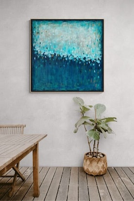 (CreativeWork) Waterfall Dreaming - Framed  Limited Edition Print 100cm x 100cm    Ed. 1 of 100 by Belinda Nadwie. Reproduction Print. Shop online at Bluethumb.