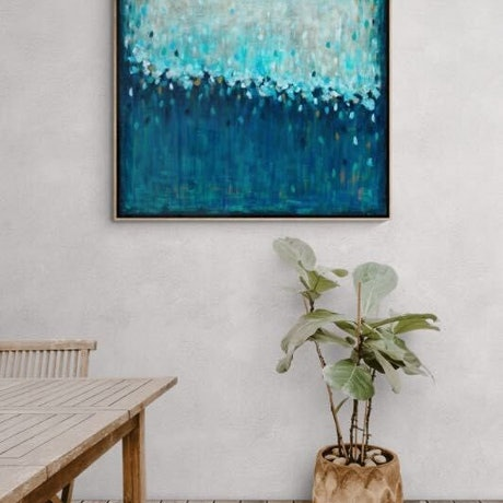 (CreativeWork) Waterfall Dreaming - Framed  Limited Edition Print 100cm x 100cm    Ed. 1 of 100 by Belinda Nadwie. Print. Shop online at Bluethumb.