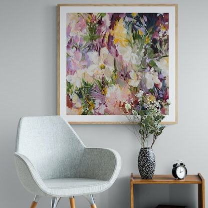 Impressionist style abstract floral in pinks and burgundy shades.