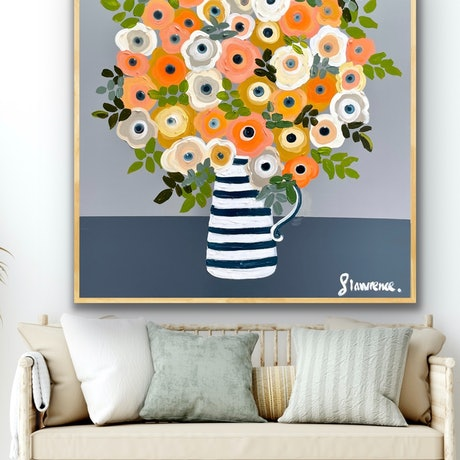 (CreativeWork) Anemone love 106x106 framed large textured flowers  by Sophie Lawrence. Acrylic Paint. Shop online at Bluethumb.