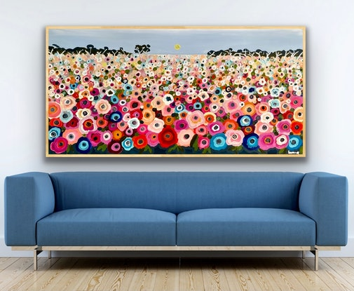 (CreativeWork) Happy memories 157x80 framed large textured abstract landscape by Sophie Lawrence. Acrylic. Shop online at Bluethumb.
