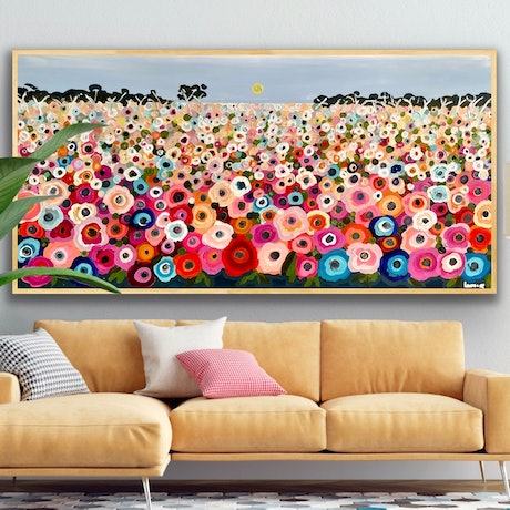 (CreativeWork) Happy memories 157x80 framed large textured abstract landscape by Sophie Lawrence. Acrylic Paint. Shop online at Bluethumb.