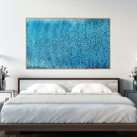 (CreativeWork) In the Deep of You and I (Blue Abstract Landscape Artwork)   by Leni Kae. Acrylic Paint. Shop online at Bluethumb.