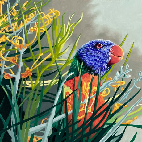 (CreativeWork) Backyard Bliss by sara bell. Oil Paint. Shop online at Bluethumb.