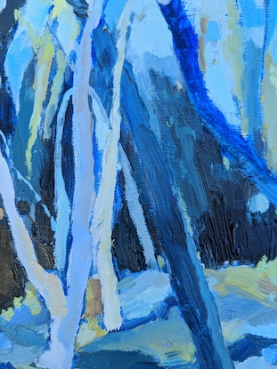Oil painting of a forest of eucalyptus gum trees in deep blues