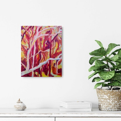 Abstract oil painting of gum tree Australian bush in pinks, reds and yellows.