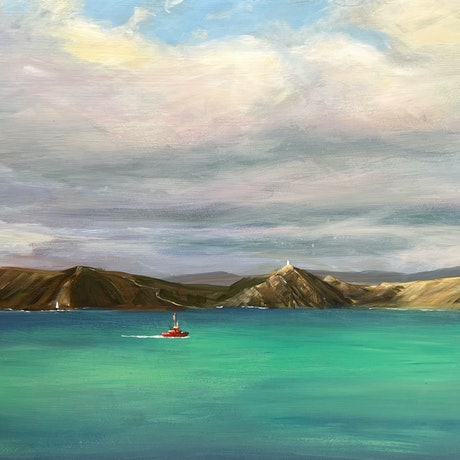 (CreativeWork) Crossing cook strait  by Shelly Du. Acrylic Paint. Shop online at Bluethumb.