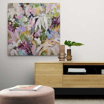 Section of a pink flower garden in a modern abstract bohemian style