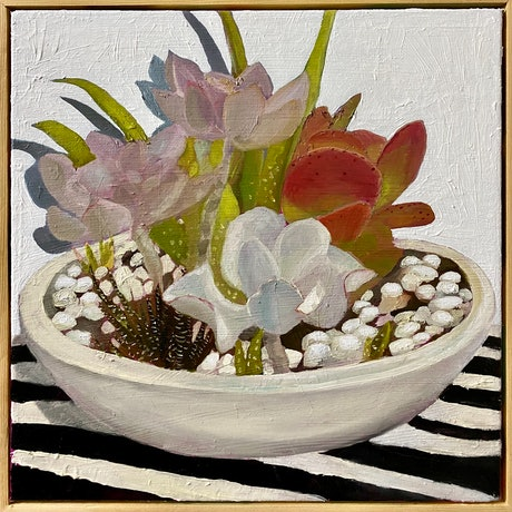 (CreativeWork) Succulent Bowl  by Pip Phelps. Oil Paint. Shop online at Bluethumb.