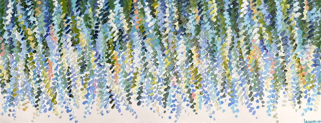(CreativeWork) Gentle wisteria 157x66 framed large textured abstract by Sophie Lawrence. Acrylic. Shop online at Bluethumb.