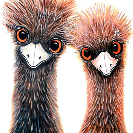 (CreativeWork) Quirky Emu Duo by Linda Callaghan. Acrylic Paint. Shop online at Bluethumb.