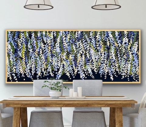 (CreativeWork) Midnight wisteria 157x66 framed large textured abstract floral by Sophie Lawrence. Acrylic. Shop online at Bluethumb.
