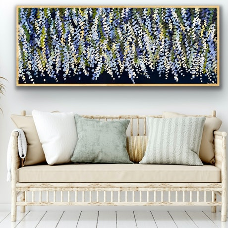 (CreativeWork) Midnight wisteria 157x66 framed large textured abstract floral by Sophie Lawrence. Acrylic Paint. Shop online at Bluethumb.