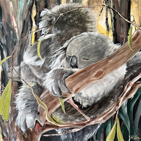 (CreativeWork) Sing You a Lullaby - Koalas by HSIN LIN. Acrylic Paint. Shop online at Bluethumb.