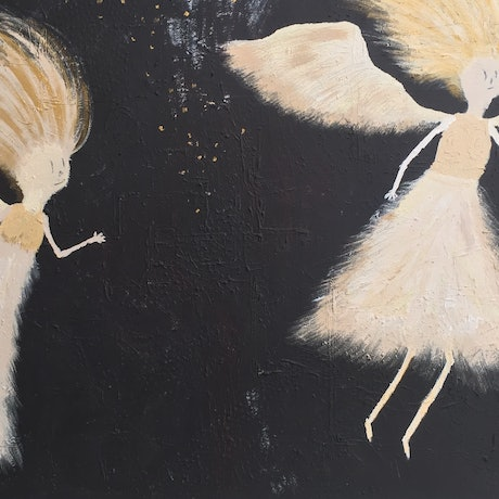 (CreativeWork) Angels in the sky by Tom Keel. Acrylic Paint. Shop online at Bluethumb.