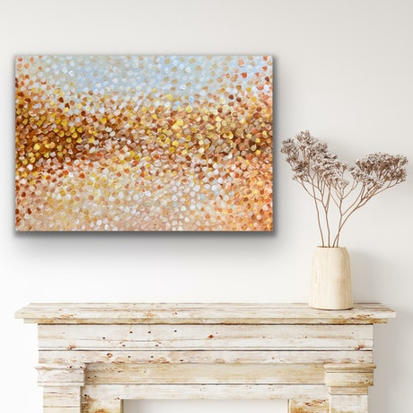 (CreativeWork) Golden Petals  by Theo Papathomas. Acrylic Paint. Shop online at Bluethumb.