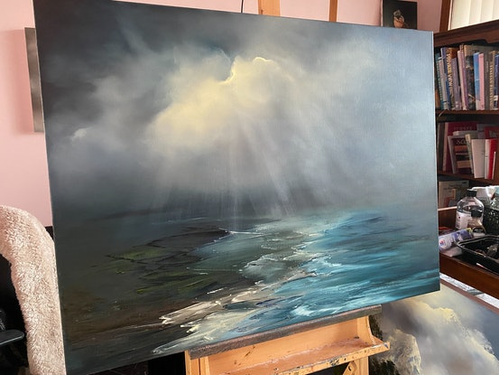 (CreativeWork) Rays of Hope by Elaine Green. Oil. Shop online at Bluethumb.