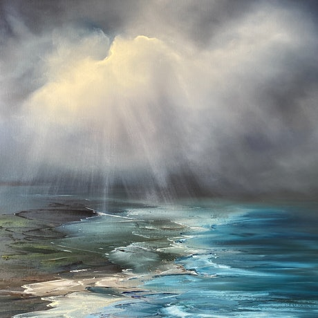 (CreativeWork) Rays of Hope by Elaine Green. Oil Paint. Shop online at Bluethumb.