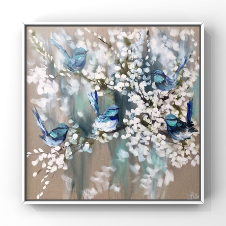 (CreativeWork) Azure blue wrens and cherry blossom  by Amanda Brooks. Acrylic Paint. Shop online at Bluethumb.