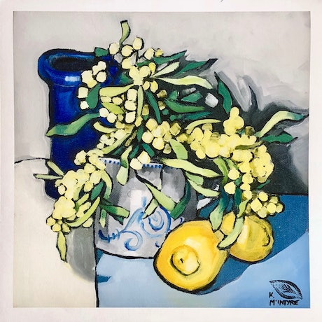 """(CreativeWork) (Print) """"Wattle, lemons and blue vase""""   Ed. 8 of 20 by kirsty mcintyre. Reproduction Print. Shop online at Bluethumb."""