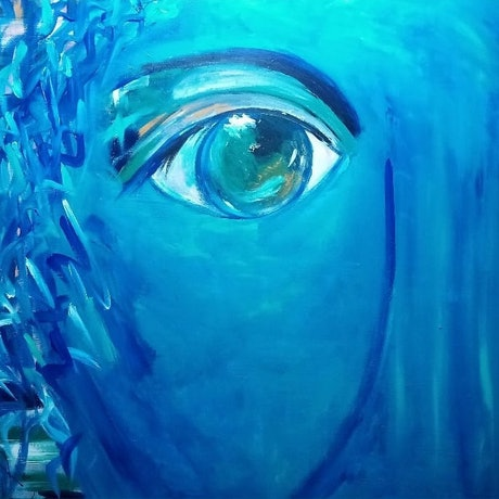 (CreativeWork) Windows to your soul - Blue face, eye  by Ilanit Vanu. Acrylic Paint. Shop online at Bluethumb.