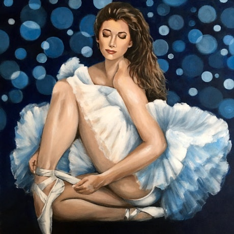 (CreativeWork) The Silver Swan by Kathryn Johnston. Acrylic Paint. Shop online at Bluethumb.