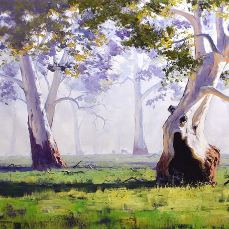 (CreativeWork) Majestic Gums Whittlesea, vic by Graham Gercken. Oil Paint. Shop online at Bluethumb.