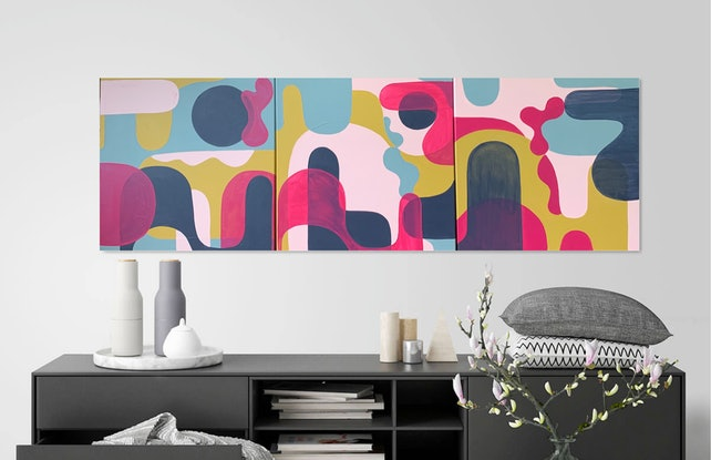 Organic shapes overlapped in opaque and transparent hues.