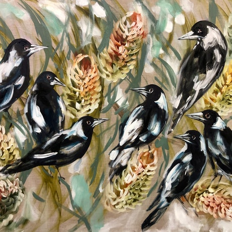 (CreativeWork) Daily magpies and golden banksia  by Amanda Brooks. Acrylic Paint. Shop online at Bluethumb.
