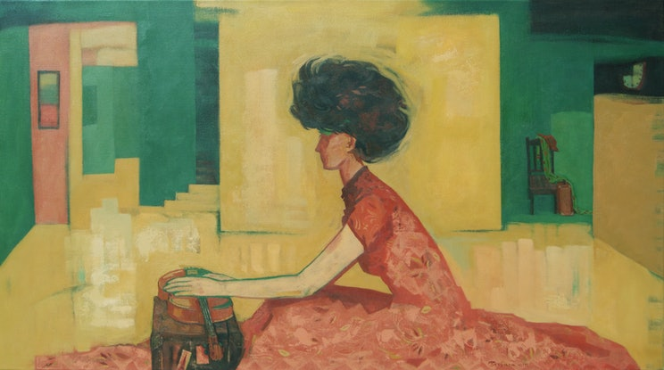 """Woman (musician) in lockdown. In front of her is her suitcase and a violin. She is holding her hand on the violin suggesting the title of artwork """"Life on Hold""""."""